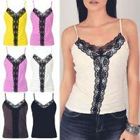 Womens Ladies V Neck Ruched Floral Lace Mesh Trim Cami Strappy Blouse Vest Top