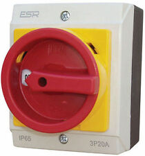 ESR Electrical Switch Disconnector Rotary Isolator 3 Pole 20A IP65 Enclosure Box
