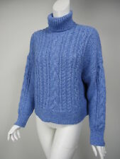 J CREW COLLECTION Cornflower Blue Thick Cable Turtleneck Crop Sweater XS F9524