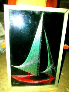 Vintage nail winding string silk Boat painting Decorative Boat, Egypt hand made