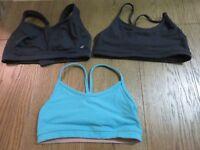Lululemon Sport Bra Flow Y LOT of 3 Blue Black Size 4 and 6 Yoga Workout Wear