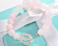"RARE Tiffany & Co Silver 8mm Rose Quartz Bead 8.25"" Toggle Bracelet Large Pouch"