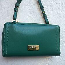 Ralph Lauren Green Leather Messenger Bag Handbag