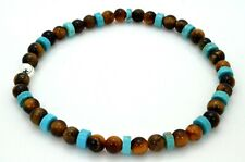 Mens Bracelet Tiger's Eye and Turquoise Bead with Sterling Silver Handmade in UK