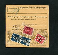 Bayern - Paketkarte mit seltener Mischfrankatur Bayern und Dt. Reich     (#1773)
