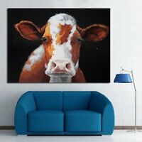 Hand-painted Modern Abstract Pop Art Oil Painting Cute Cow  No Frame