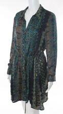 NWT CENTRAL PARK L Large XL Career Shirt Dress Long Sleev Print Black Green $148