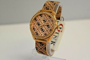 New Guess Authentic Women's Mesh Rose Gold SS Black Crystals U1279L3 $160 Watch