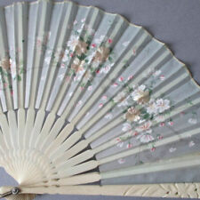 Antique Cream Silk Hand Fan Hp + Embroidered Pink Flowers Pierced Bone Sticks