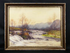 Léon PETIT(1885-1965) Paysage post impressionniste .Rivière à truites .pecheur