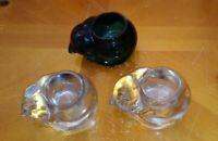 Indiana Glass Crystal/Green Cat Candle Holder Votive tealite Vintage figurine