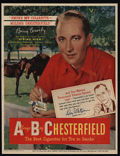 1950 BING CROSBY - CHESTERFIELD Cigarettes - Actor - Singer - Horse - VINTAGE AD