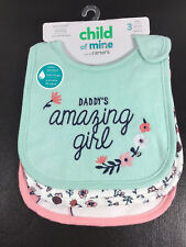 Baby Girl Bibs, 3-Pack - Carter's Child of Mine - BRAND NEW WITH TAGS