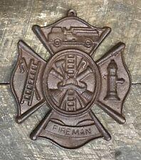"Firefighters Vintage Cast Iron Fireman's Cross Plaque, 9"" x 7.5"""