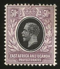 EAST AFRICA AND UGANDA PROTECTORATES 50c GEORGE V MINT STAMP