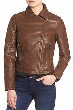 New LEVI'S Sz XL (14-16) Cognac Faux Leather Asymmetrical Front Zip Moto Jacket