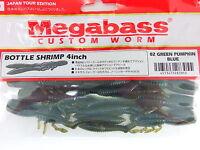 "Megabass - BOTTLE SHRIMP 4"" #02 GREEN PUMPKIN BLUE"