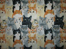 CATS REALISTIC NATURAL CAT COTTON FABRIC BTHY
