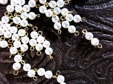 Vtg 200 faux WHITE PEARL CONNECTOR GOLD FINDINGS ROUND BEAD RETRO   #091515o