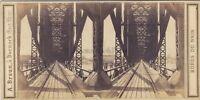 Mainz Magonza Pont Reno Germania Foto A. Braun Stereo Vintage Albumina Ca 1860