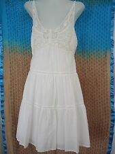 PORTMANS Dress Top Size 10 WHITE Tiered Shirred Back Adj Straps LACE Bodice 2041