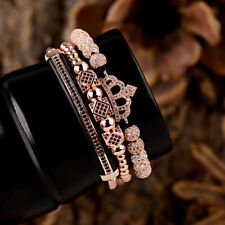Luxury Women Men Zircon Crown Bead Quuen King Macrame Adjustable Charm Bracelets