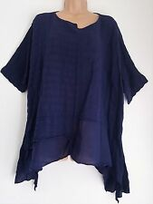 New Ladies Lagenlook Cotton Navy Oversized loose tunic top fits uk 20 22 24 26