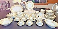 NORITAKE SERVICE FOR 8 FINE CHINA  GOLD AND FLORAL TOPAZE PATTERN RARE EUC !! ✨