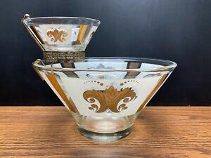 Vintage Anchor Hocking Chip & Dip Bowl Set Clear Glass Gold Wheat Fleur de Lis