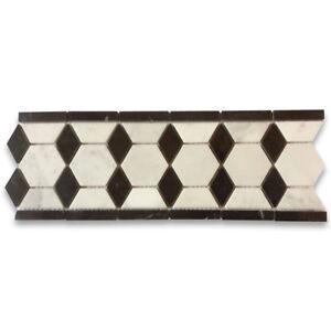 "C32B4XH Carrara White Marble 2"" Hexagon Mosaic Border Listello Tile Honed"