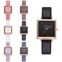 Fashion Womens Analog Leather Band Wris Watch Ladies Quartz Steel Square Watch