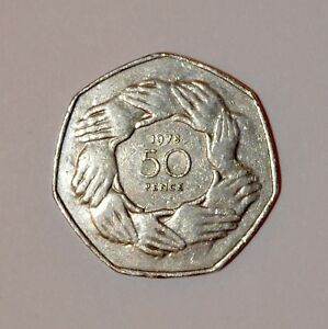 1973 50p EEC BREXIT RING OF HANDS COIN RARE COLLECTABLE OLD LARGE  FIFTY PENCE