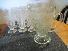 VINTAGE ELEGANT PITCHER AND 12 MATCHING GLASSES