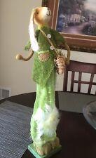 "Easter Bunny Spring Rabbit Green Burlap Dress Feathers Bag Carrots 23"" Tall"