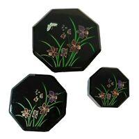Set of 3 Vintage Nesting Black Plastic Trinket Boxes Floral Design Japan