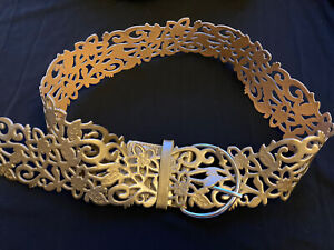 Women's Gold Floral Belt With Buckle. Gold Cut Out Belt. Women's Accessory