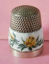 VINTAGE SOLID SILVER AND ENAMEL THIMBLE, PAINTED FLORAL PANEL