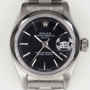 Rolex Women's Stainless Steel OPD Automatic Watch w/ Black Dial #79160 1999