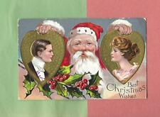 SANTA PLAYS MATCHMAKER On Colorful Vintage 1908 CHRISTMAS Postcard