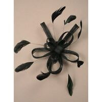 Black Fascinator with Net Bow Loops and Feather Tendrils