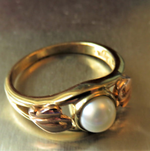 'Clogau', 9ct Rose and Yellow Gold, 'Cultured Pearl' Ring. Size K.  Ref:xaaodmx