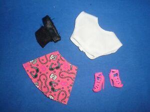 4 Piece Summer Outfit to fit Barbie Crop top, Mini Skirt, Mesh Waist Bag,Sandals
