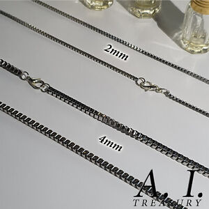 """Mens Box Chain 20"""" x 2mm 4mm Stainless Silver Necklace Rings Metal Solid Links"""
