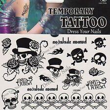 Skull + Crossbones Black Pirate Roses Assorted Temporary Body Tattoo Halloween
