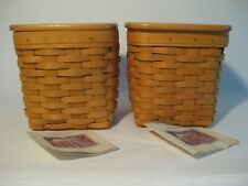 2 Longaberger Usa Handwoven Wood Baskets Tissue Holder Wood Crafts Lids
