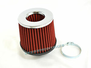 """RED UNIVERSAL 2.5"""" CHROME TOP AIR FILTER FOR GMC SHORT/COLD AIR INTAKE"""