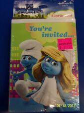 RARE Smurfs Movie Animated Cartoon Kids Birthday Party Invitations w/Envelopes