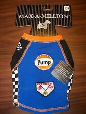 Max A Million Dog Puppy Pit Crew Checkered Flags Blue Tank Size XS NWT