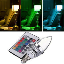 E14 3W RGB LED 16 Color Changing Candle Light Lamp Bulb + Remote Control New.