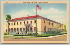 Phoenix Arizona~United States Post Office~1940s Linen Postcard